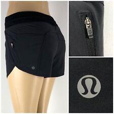 Lululemon Womens 4 Tracker Short III Black Running Performance Drawstring Pocket