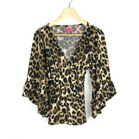 Betsey Johnson Small Leopard Print Top 3/4 Sleeves Business Casual Dressy