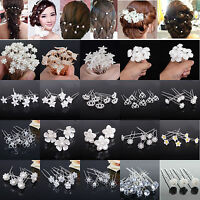 20/40 Lot Crystal Diamante Pearl Flower Bridal Wedding Prom Hair Pins Clips
