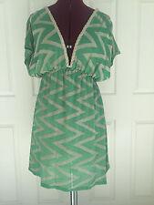 Bebe Metallic Green Isle Knit Chevron Zig Zag Braid Trim Knit Dress Sz XS NWT