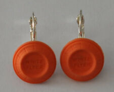 White Flyer Clay Pigeon Target Leverback Earrings Custom Made Usa Trap Shooting
