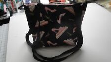 Pink High-Heels on Books-Black Background Tote Bag-Machine Quilted-Hand Made