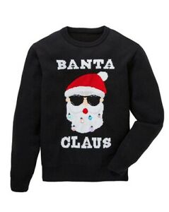 JACAMO Christmas Jumper Mens Black Banta Claus Light up Sweater Size 2XL BNWT