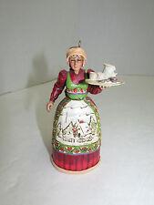 Jim Shore Ornament Woman With Tray Euc