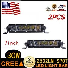"2X 7"" 30W Cree 3D Single Row Led Driving Work Light Bar Spot Beam Offroad 4WD"