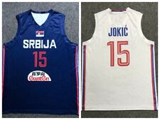 2019 China Nikola Jokic #15 Serbia Basketball Jersey White Blue Printed