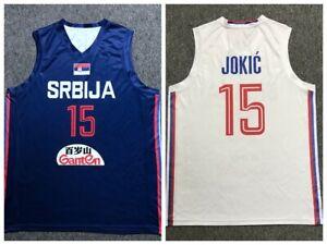 2019 China Nikola Jokic #15 Serbia Basketball Jersey White Blue Printed