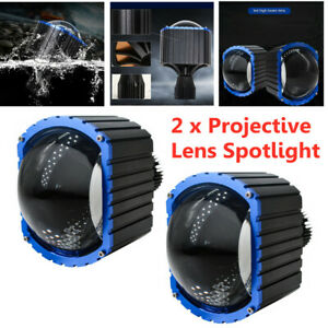 Car LED Projective Lens Spotlight Motorcycle Headlamp Waterproof Spotlight Set
