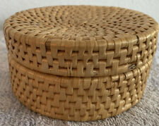 Vintage natural raffia coaster set(4) with storage conatiner and lid