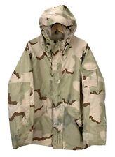 US Military ECWCS Desert Camo Waterproof Parka Jacket Sz Medium Distressed