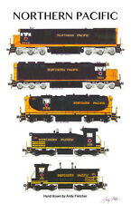 "Northern Pacific Locomotives 11""x17"" Poster by Andy Fletcher signed"