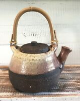 Vintage Stoneware Clay Pottery Tea Pot Bamboo Handle