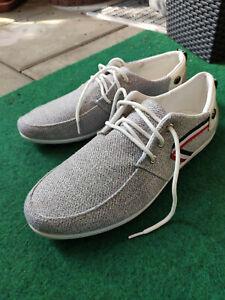 Schnürschuhe - Sneaker Stoff Gr. 42 - hellgrau