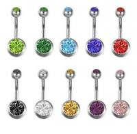 10 Ptz. Piercing Ombelico Navel Belly Ring Acciaio Chirurgico Doppio Brillantino