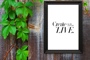 Motivational print,27,poster,motivational quote,Create the Life, black text