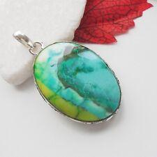 Dendriten Achat grün grau hellgrün Design Amulett Anhänger Silber plattiert neu