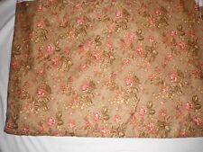 15.5 yards robert allen@home drapery/upholstery fabric pink flowers brown backgr