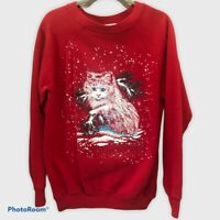 """Women's Red  Vintage Pannill Cat """"Ugly Christmas"""" Crew Neck Sweater Sz XL 1991"""