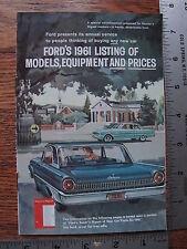 Original 1961 61 Ford Falcon Fairlane 500 Galaxie Dealer Sale Full Line Brochure