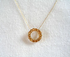 .70 Ct. Citrine 'Eternity Circle'   14k Gold Pendant & Necklace