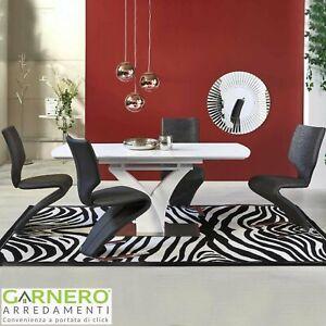 Tavolo allungabile DIONE Gihome ® vetro bianco allungabile cucina sala da pranzo