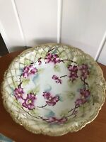 Antique Large Bowl Hand Painted Trimmed in Gold China Flowers Inside Home Decor