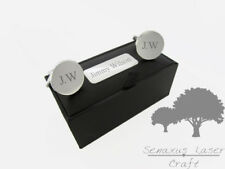 Engraved round Silver Cuff links & Personalised Gift Box wedding gift sclr13