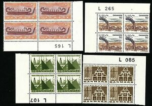 Denmark 1967 - 76 Four number block of four. Three engraved Slania. MNH.