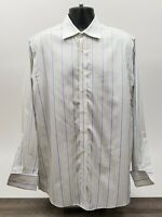Charles Tyrwhitt Men's Shirt Size 16 / 35 French Cuff White Yellow Blue Stripe
