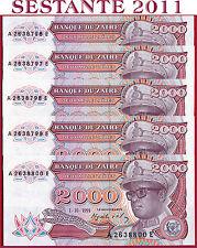 (com) ZAIRE - 2000 2.000 ZAIRES 1.10. 1991 - 5 notes  - P 36  - Uncirculated UNC