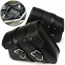 2X Motorcycle Saddle Bags Side Leather For Harley Davidson Sportster XL883 1200