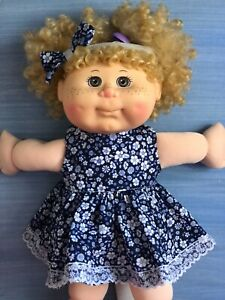 """14"""" CABBAGE PATCH Dolls Clothes / DRESS & HEADBAND / navy & white flowers"""