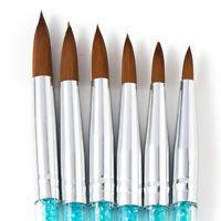 6x 100% Pure Kolinsky Acrylic Crimped Nail Brush 13mm/15mm/16mm/17mm/20mm/23mm