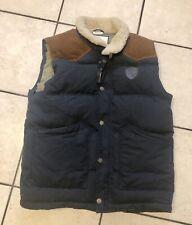Lexington Clothing Mens Navy Ranger Down 600 Vest Leather Sz L