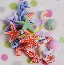 10 GRAMMI DI PERLINE in plastica a tema marino ciondoli PERLE MIX forme miste