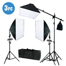Photography Studio Photo 3 Softbox Light Stand Continuous Lighting Kit 2400W