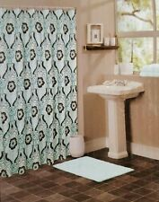NWT FLOWER MEDALLION BOHO FABRIC SHOWER CURTAIN FLORAL BATHROOM DECOR AQUA BROWN
