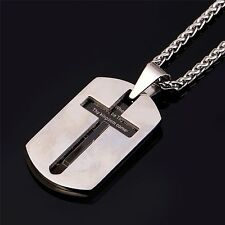 Cross Necklaces Pendants Christian Jewelry Bible Lords Prayer Dog Tags Stainless