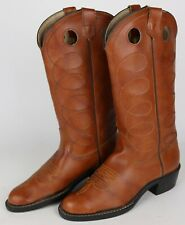 Bronco Brand Mens 7 1/2 D Brown Faux Leather Tall Cowboy Boots Made In USA