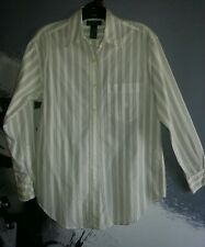 RALPH LAUREN CORPORATE WHITE FINE PINSTRIPE BUTTON DOWN SHIRT COTTON SIZE 6