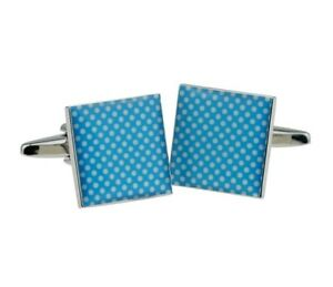 Square Cufflinks in Cool Blue with White Polka Dot Pattern - Cufflink Set - Blue