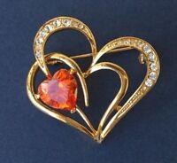 Love / Heart brooch pin in gold tone metal