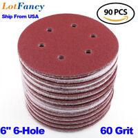 90Pcs 6inch 60 Grit Sanding Discs Orbital Sander Sandpaper Sheet Hook & Loop USA