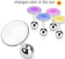"Sun Activated Color Changing Tragus Cartilage Barbell 16ga 1/4"" Choice of Color"