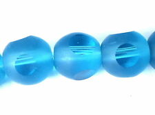Glass Beads - 10mm Faceted Round - Frosted Turquoise Blue - 10mm/1mm hole x 28