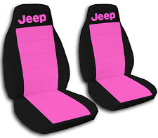 Jeep Wrangler Seat Covers Hot Pink & Black with Jeep Canvas Front Set