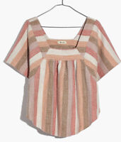 New Madewell Texture & Thread L Butterfly Top in Sherbet Stripe Cotton Shirt NWT