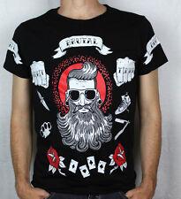 T-shirt maglia hipster brutal barba barber girocollo paricollo uomo maglietta