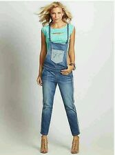 GUESS DENIM OVERALL RELAXED SLIM FIT STRAIGHT LEG WITH TUXEDO STRIPES SIZE 25