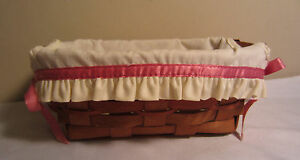 Vintage 1990 Longaberger Small Rectangular Basket With Cream Liner & Pink Ribbon